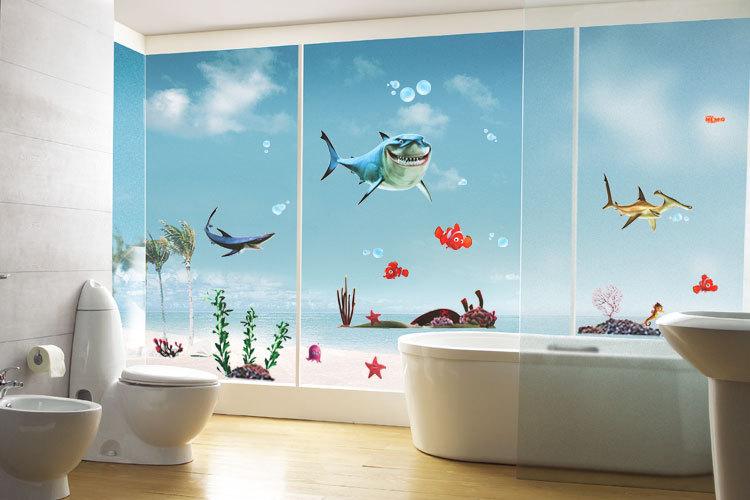 Наклейка в ванной на всю стену