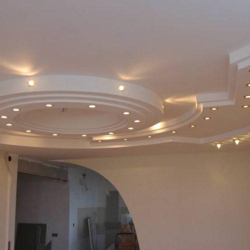 Многоуровневые потолки из гипсокартона - фото