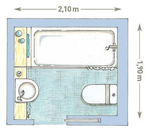 Схема совмещенной ванной и туалета 4 кв. м.