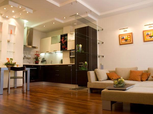 Кухня вместе с гостиной