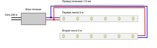 Схема параллельного подключения LED подсветки