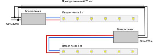 Схема подключения нескольких блоков питания