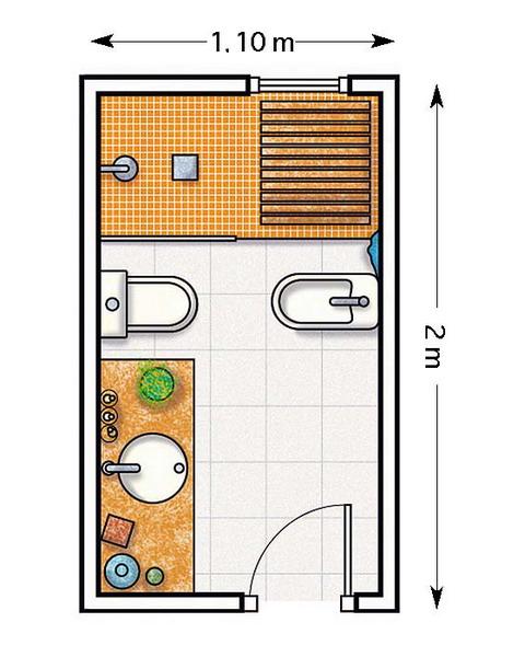Схема узкой ванной комнаты