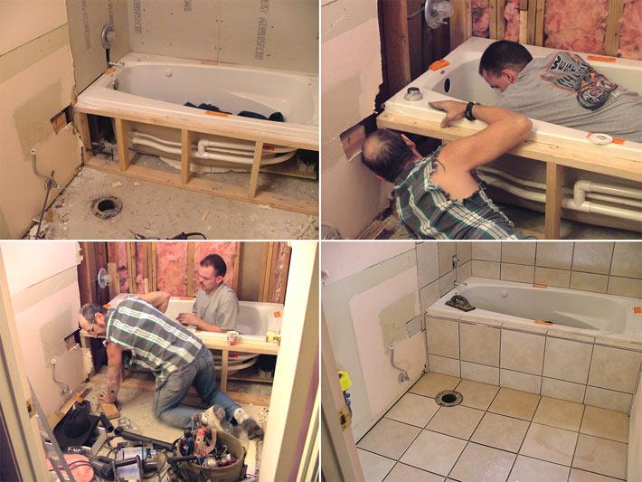 Самостоятельная установка ванны на ножки