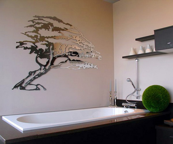 Блестящая наклейка в ванную в виде дерева