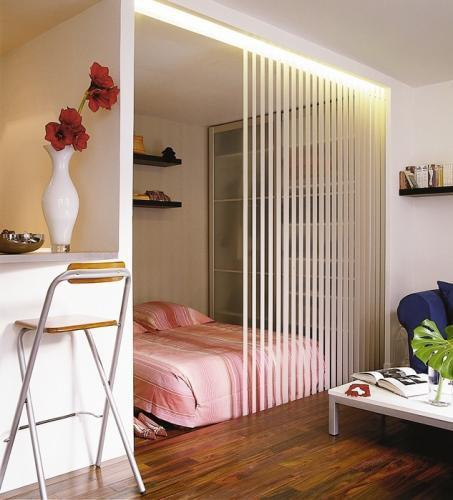 Зонирование комнаты с помощью шторок