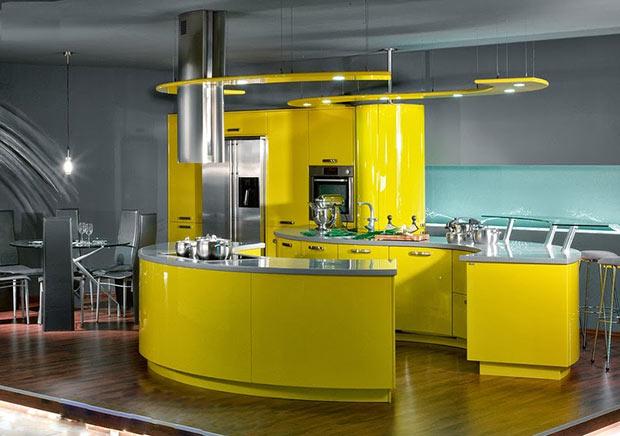 Кухня в серо-желтых цветах