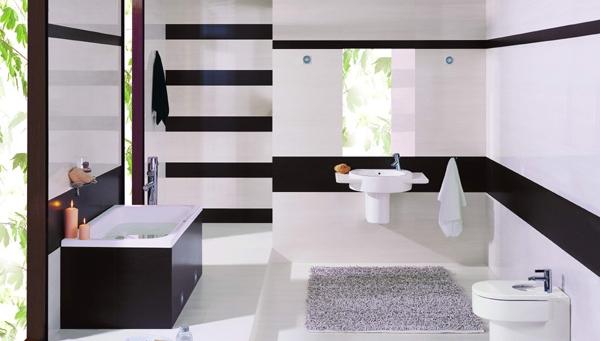увеличение пространства в ванной с помощью плитки