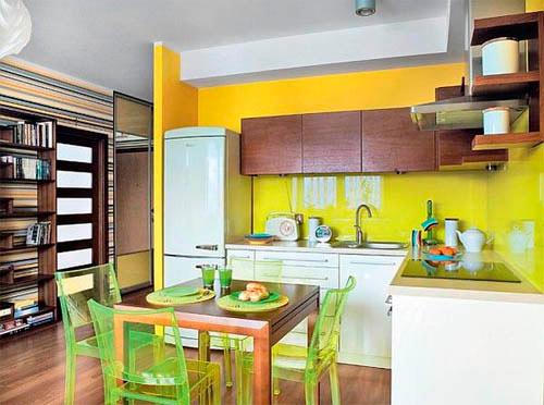 яркие цвета на кухне - салатовый и желтый