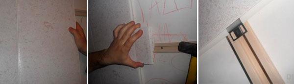 Процесс крепления ПВХ панеелй на стену