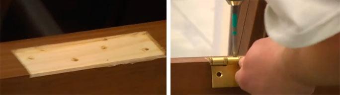 Крепление петель на дверь