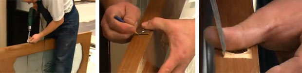 крепление ручки-замка в дверь