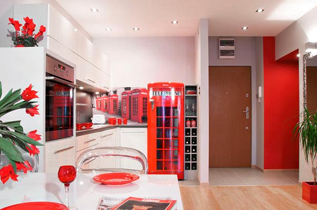 Красная кухня в стиле Лондона