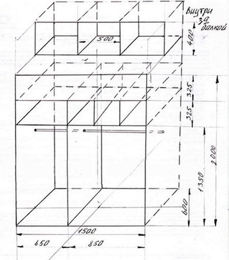 Чертеж шкафа-купе (схема)
