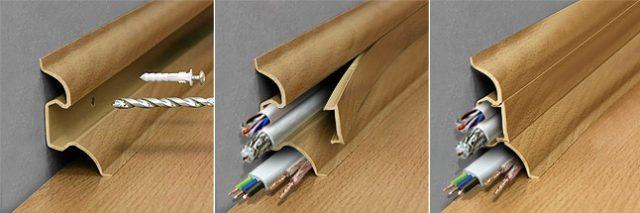 Установка плинтуса напольные пластиковые с кабель каналом