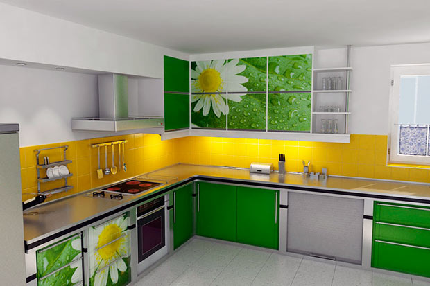 Дизайн кухни в ярких цветах