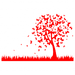 красный шаблон для оформления стены