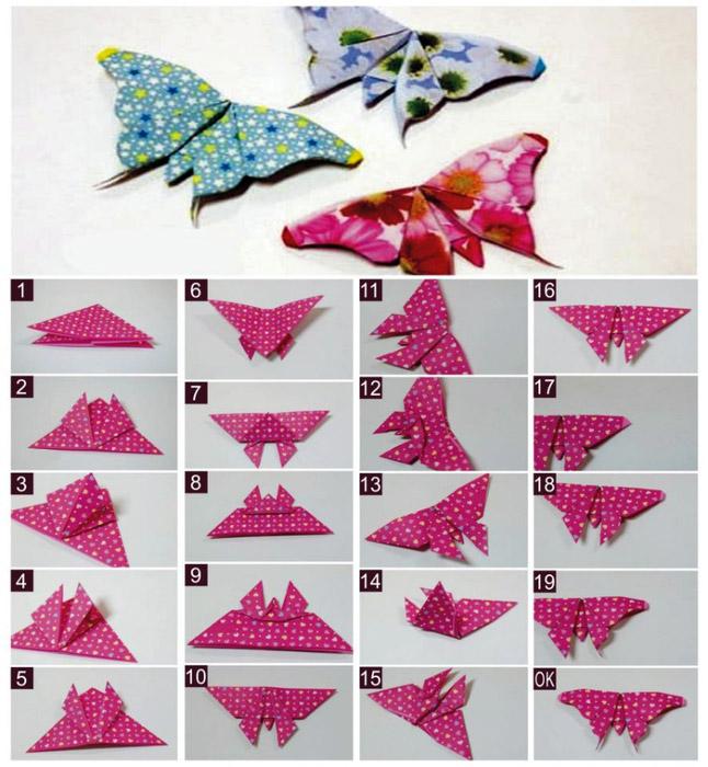 Оригами бабочек из бумаги своими руками на стену
