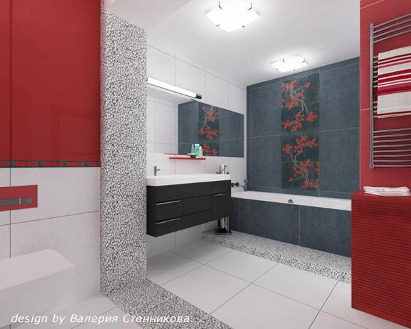 Ванная в красно-серых цветах