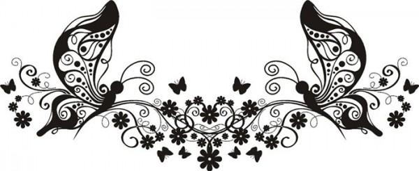 красивый трафарет бабочек с цветами