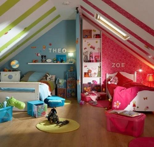 На фото показаны детские комнаты мальчик-девочка