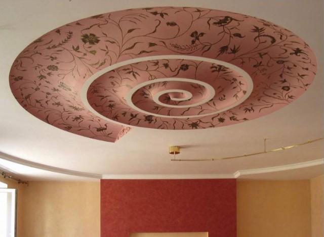 оригинальный потолок в квартире с помощью декора обоями