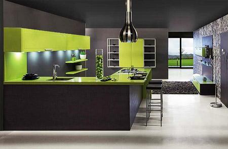 черно-зеленый дизайн кухни