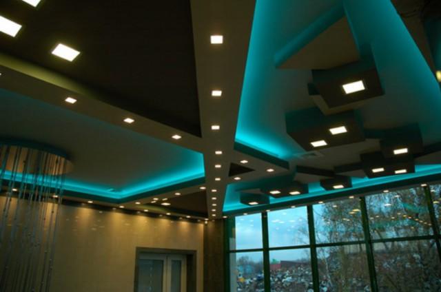 подсветка черного потолка из гипсокартона