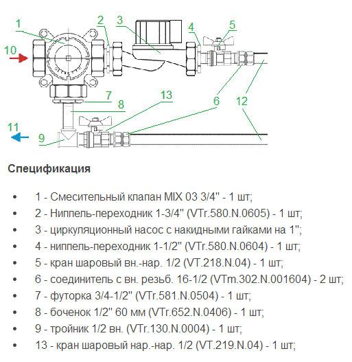 Схема системы смешивания