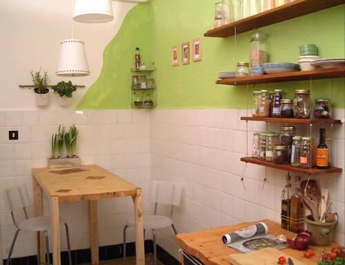 сочетание покраски стен и кафельной плитки