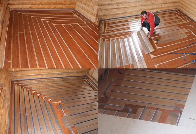 Монтаж теплого пола в деревянный пол