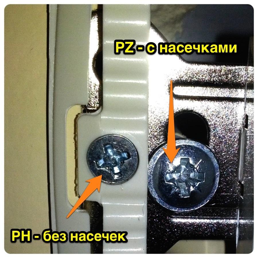Отличить винты и шурупы PH и PZ очень просто. В PZ есть дополнительные насечки, а в PH их нет.