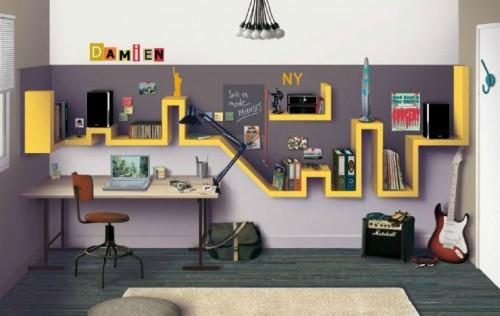 Полка для детской комнаты в стиле Нью-Йорка.