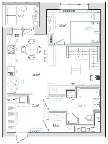 однокомнатная квартира 40 квадратных метров