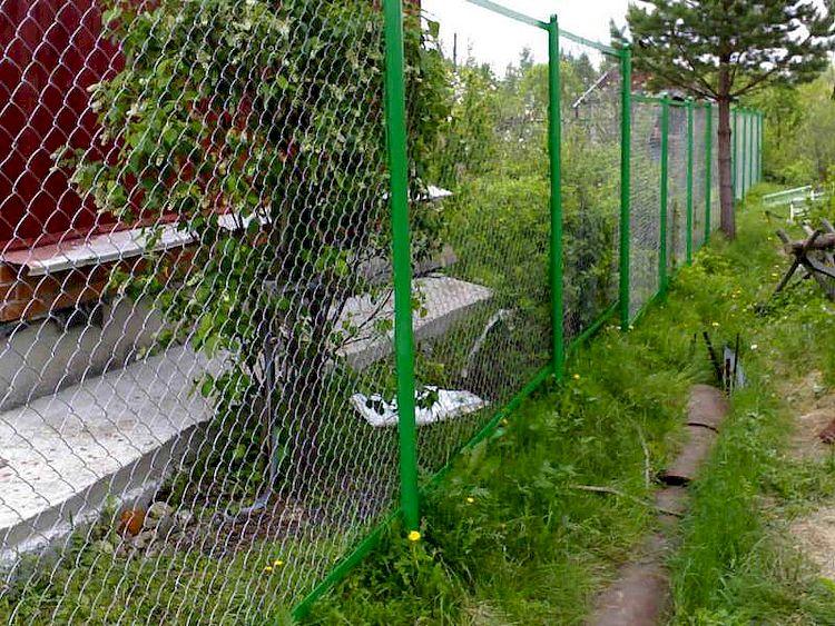 забор для дачи своими руками из сетки рабицы