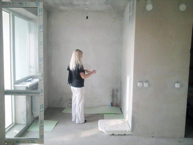 Кухня после выравнивания стен