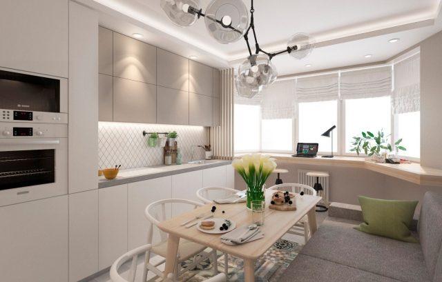 Кухня трехкомнатной квартиры