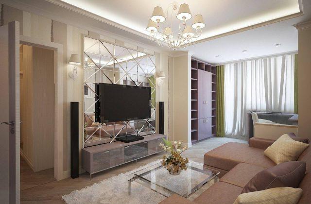 Гостиная трехкомнатной квартиры