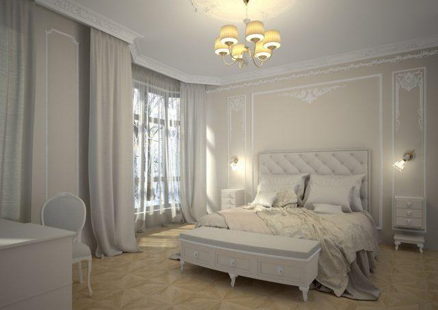 Молдинг в белой спальне