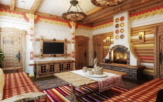 Интерьер врусском стиле для бани