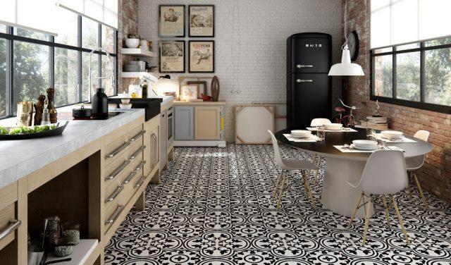 Узор на полу в кухне