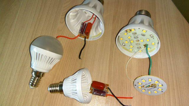Светодиодная лампа в разобранном состоянии