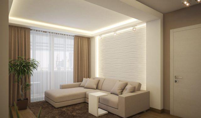 Жилая комната однокомнатной квартиры