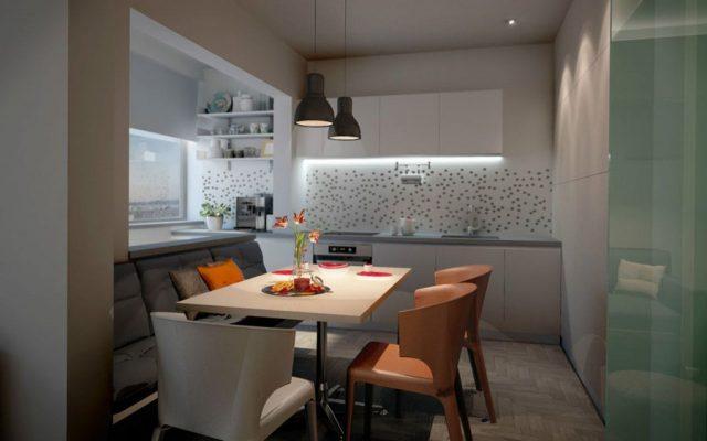 Кухня однокомнатной квартиры