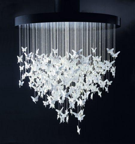 Люстры-бабочки избумаги