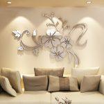 Зеркальные цветы на стене