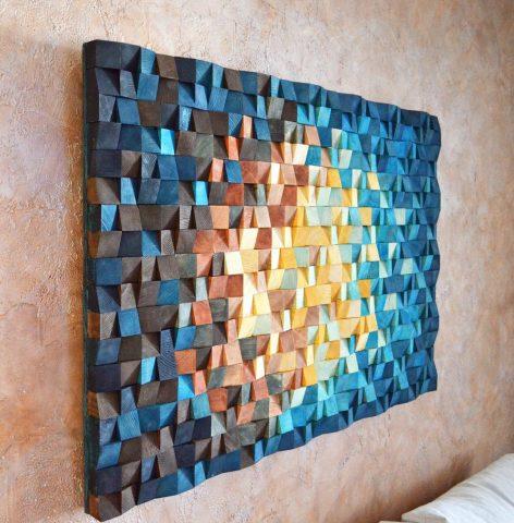 Текстильные украшения на стене