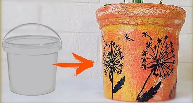 Как покрасить майонезные ведерки