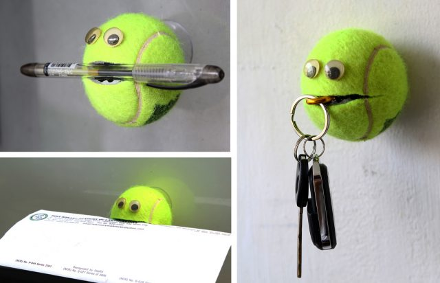 Ключница из теннисного шарика