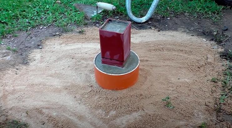 бетон внутрь столба